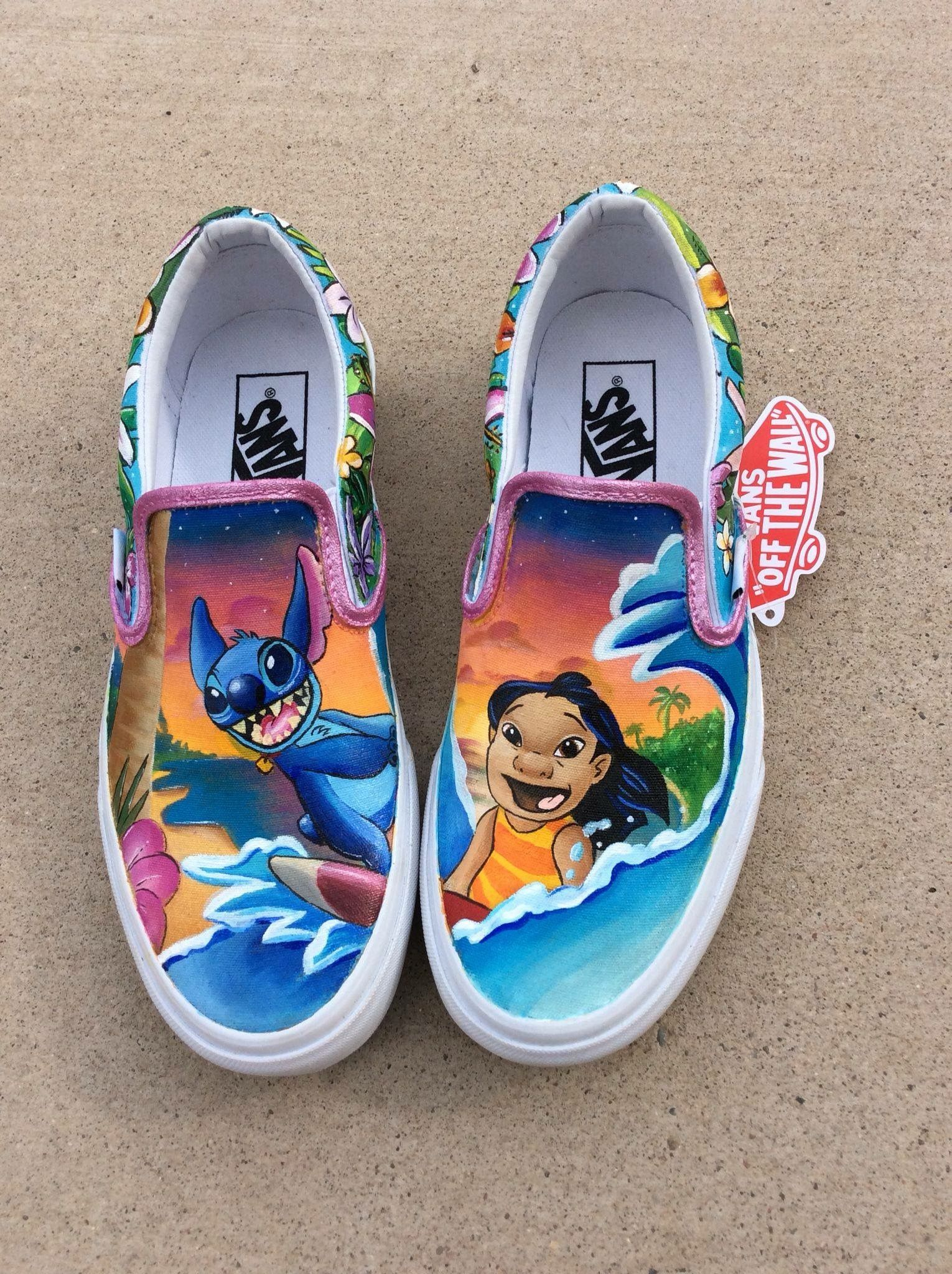 lilo   stitch 💜💚💛🧡💙 Disney Painted Shoes 2b5876519e