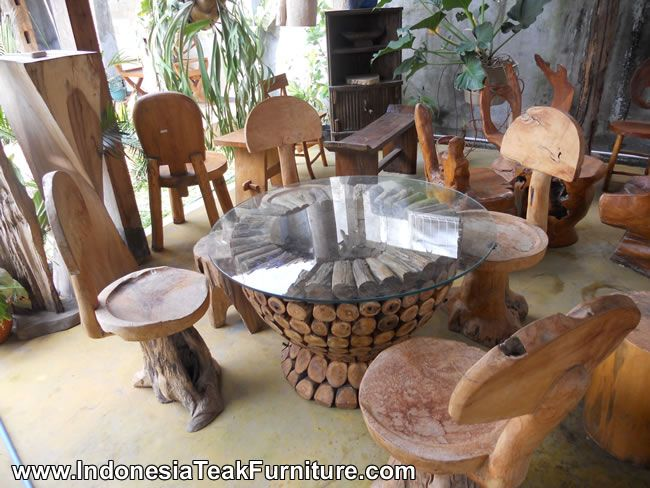 Teak Root Wood Furniture Set chairs stool table made of teak tree