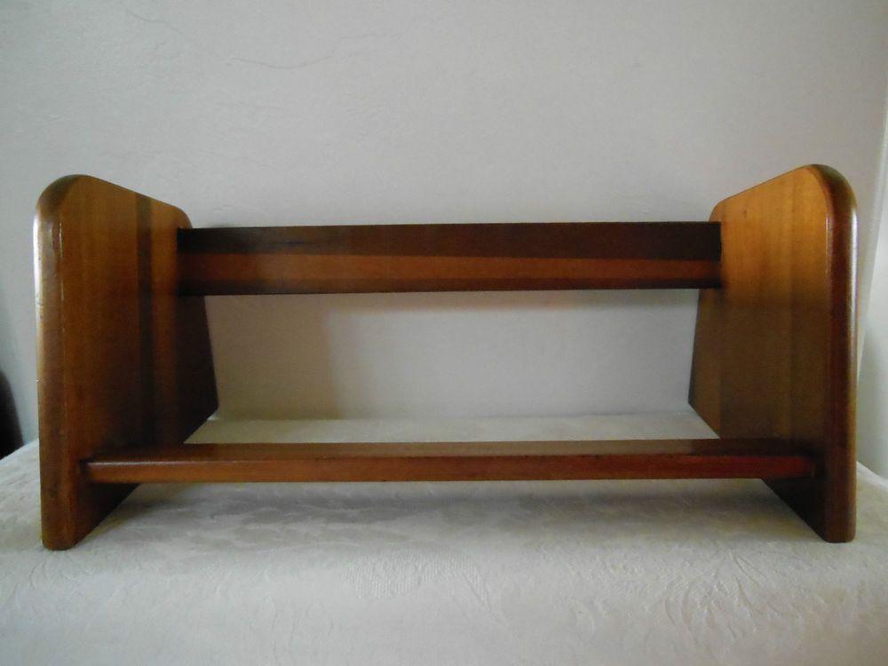 Small Vintage Wood Desktop Book Shelf Rack Stand Mcm Bookcase Original Nice Vintage Wood Bookshelves Shelves