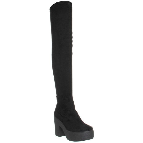 Office Naughty Stretch Thigh High Boot ($110) ❤ liked on Polyvore