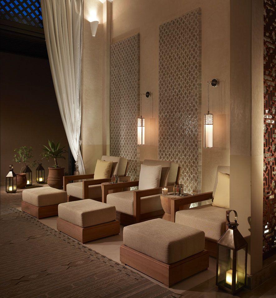 Foot Massage Room Lanterns On Floor Curtain Can Be Tied Back Spa Interior Design Spa Design Spa Interior