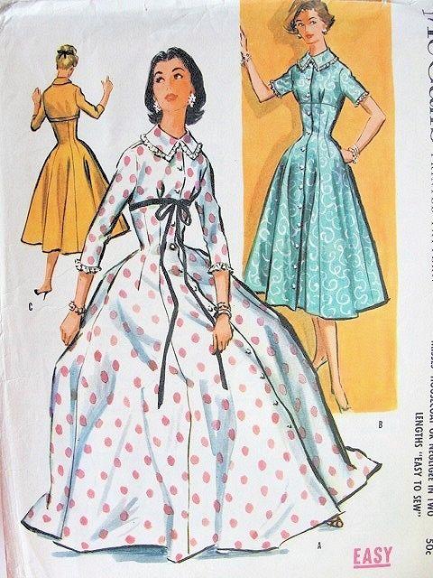 55d33fdd7d 1950s BEAUTIFUL Housecoat Negligee Pattern McCALLs 3885 Empire Waist Full  Skirt 2 Lengths Figure Flattering Bust 34 Vintage Sewing Pattern