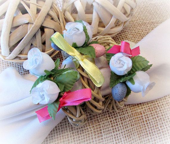 Spring Easter Napkin Rings Pastel Easter by RusticHearthandHome