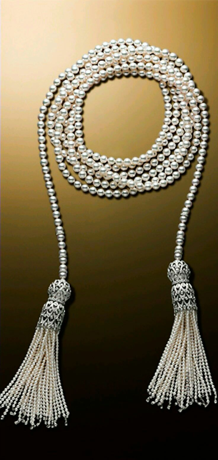 Some Vintage Glamour Inspiration For Your Tassels  Alexandre Reza Pearl  Necklace Mikimoto