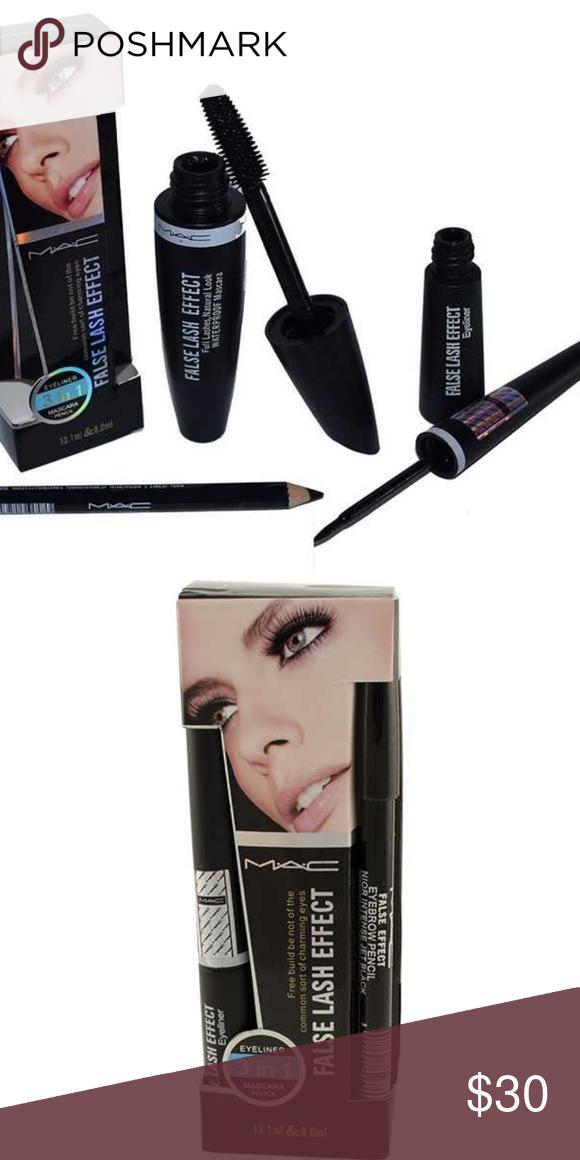 19142ff812c MAC false lash effect set Brand new. Set includes : eye liner, mascara, eye  pencil MAC Cosmetics Makeup Mascara