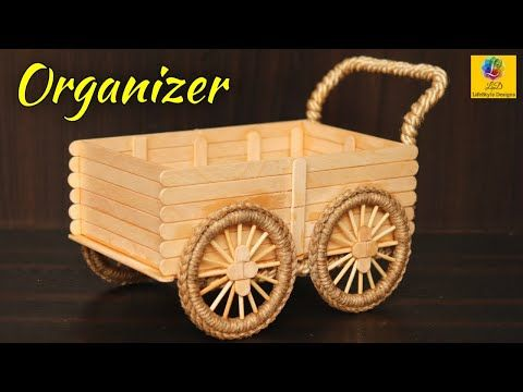 How to make Desk Organizer with Popsicle sticks and Jute | Best out of waste | DIY room organizer