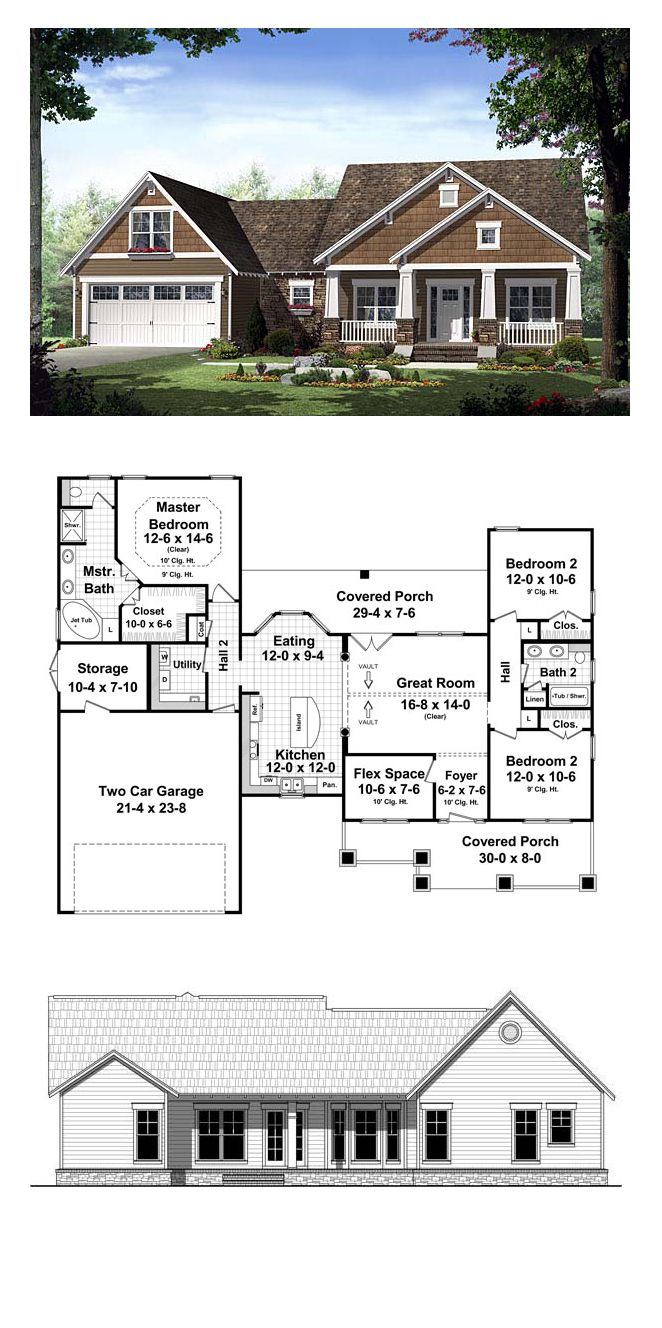 Southern Style House Plan 55600 With 3 Bed 2 Bath 2 Car Garage Craftsman Style House Plans New House Plans Craftsman House Plans