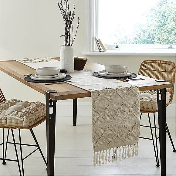 Macrame Global Textured Table Runner Dining Table Cloth Dining Table Decor Everyday Dining Table Runners