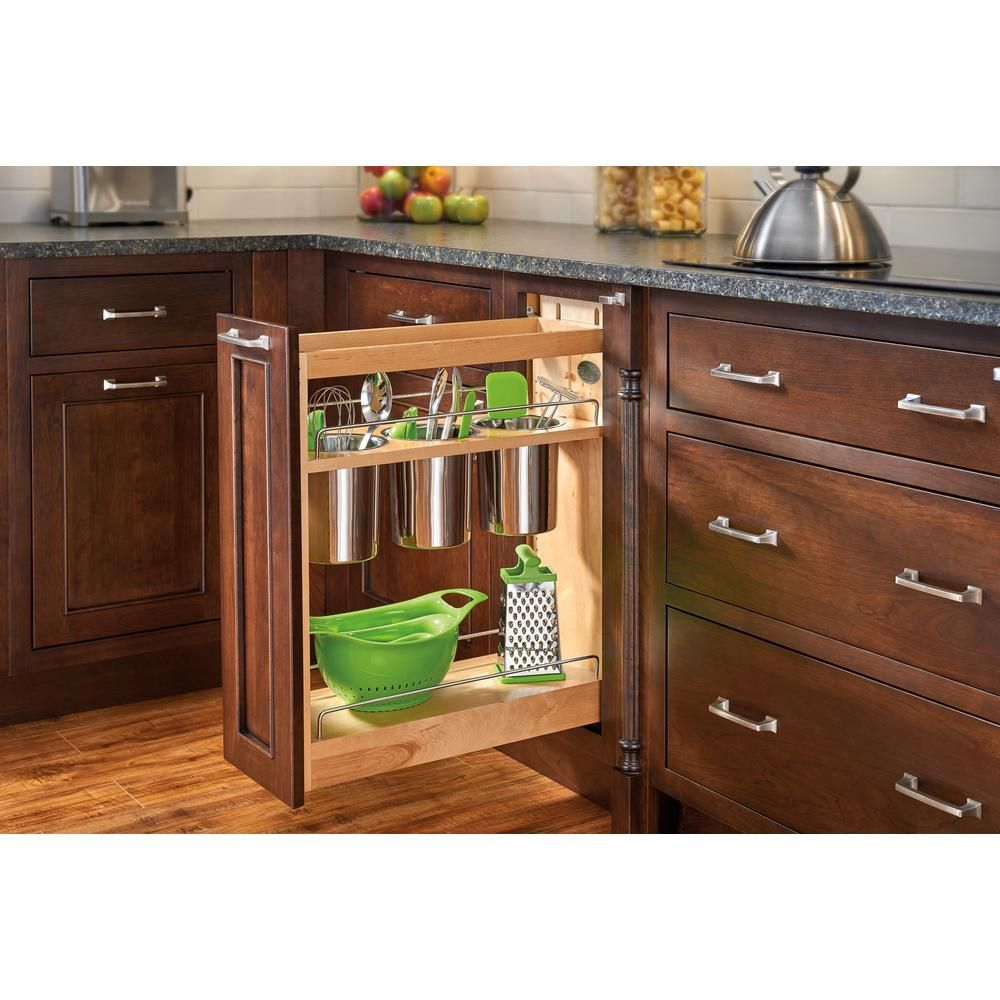 Kitchen base cabinet roll out shelves - Pull Out Wood Base Cabinet Utensil Organizer With 3 Bins And Soft Close Slides Light Brown Wood