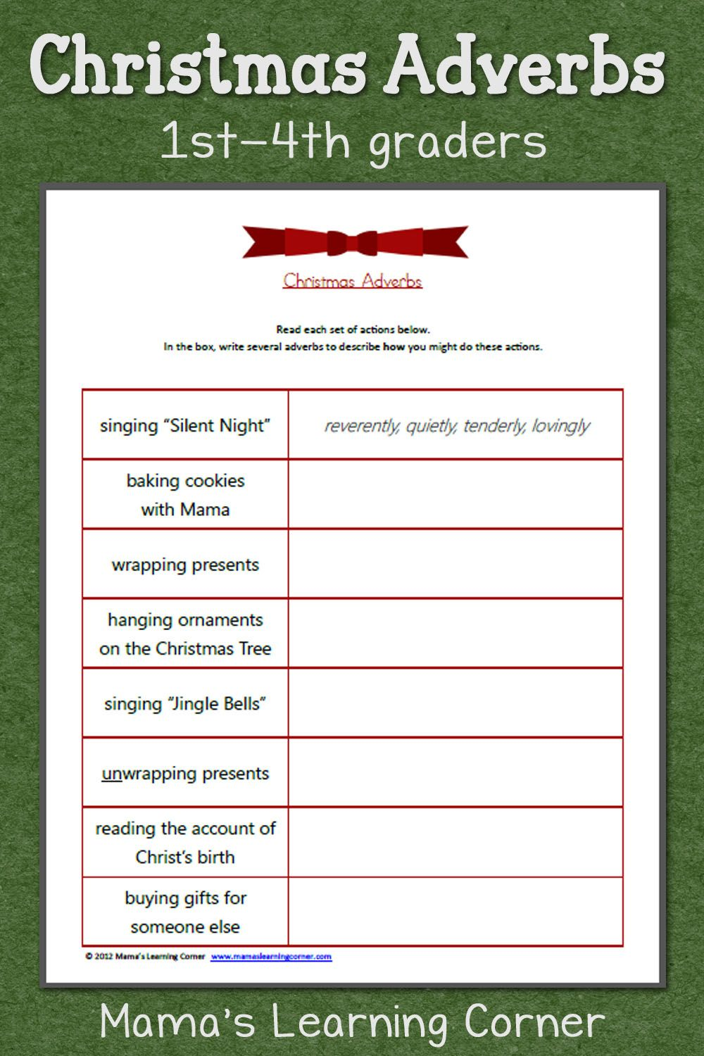 Workbooks worksheets on kinds of adverbs : Christmas Adverbs Worksheet | Adverbs, Free worksheets and Worksheets