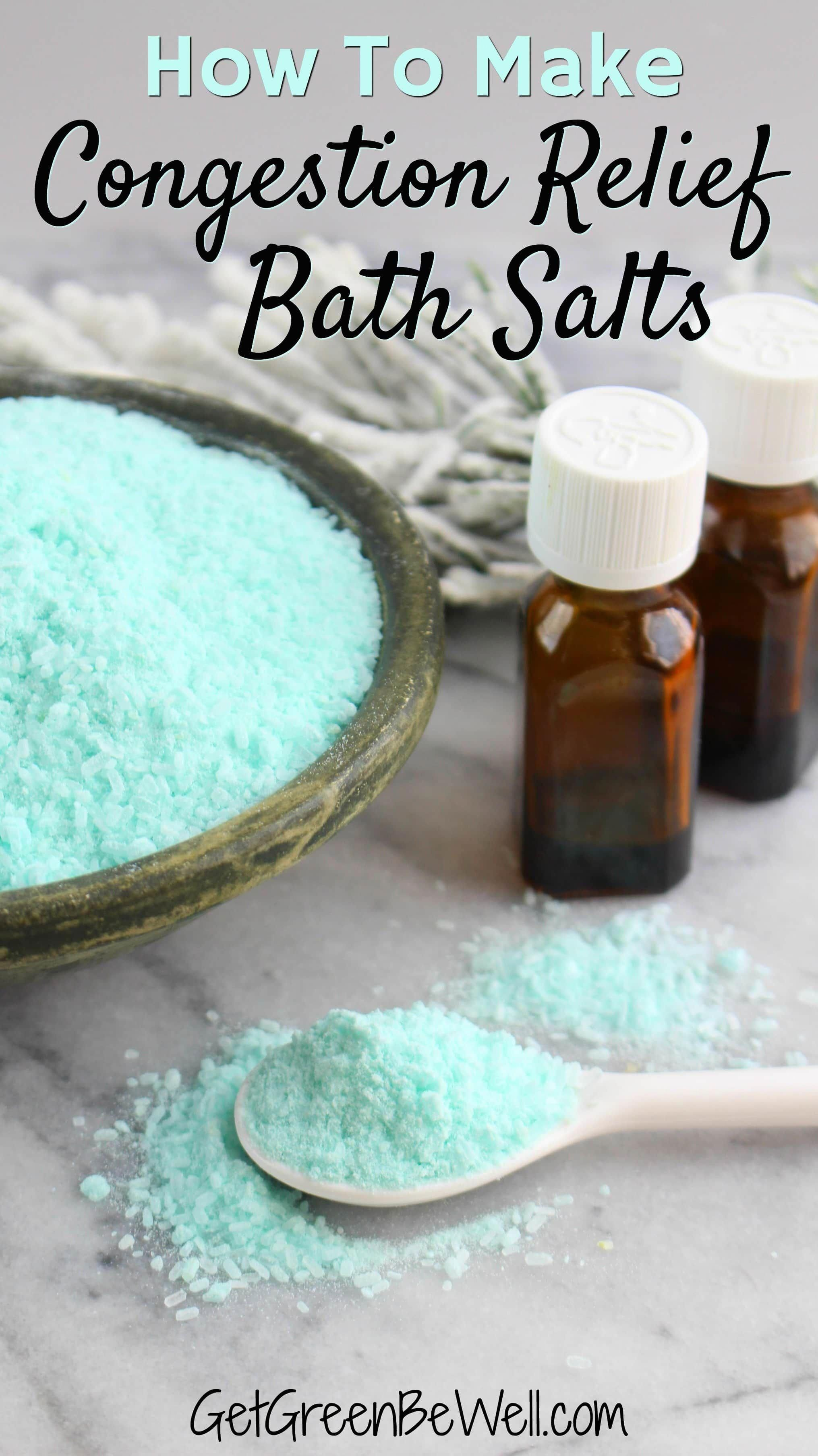 Breathe easier right now by adding these bath salts to a hot bath. With natural vapors from essential oils, plus powerful detoxing properties, you could speed healing and feel better with this DIY Sinus Congestion Relief Bath Salts Recipe made from ingredients you can find at your drugstore! #naturalremedies #natural #naturalliving #greenliving #allnatural #coldweather #DailyHealthTips