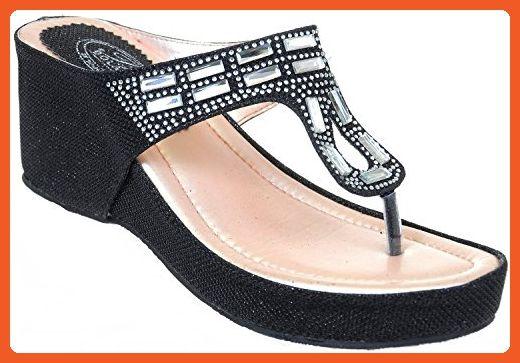 99a6ac7df Crystal Bling Mesh Vegan Suede Wedge Flip Flop Sandal Black (5.5) - Sandals  for