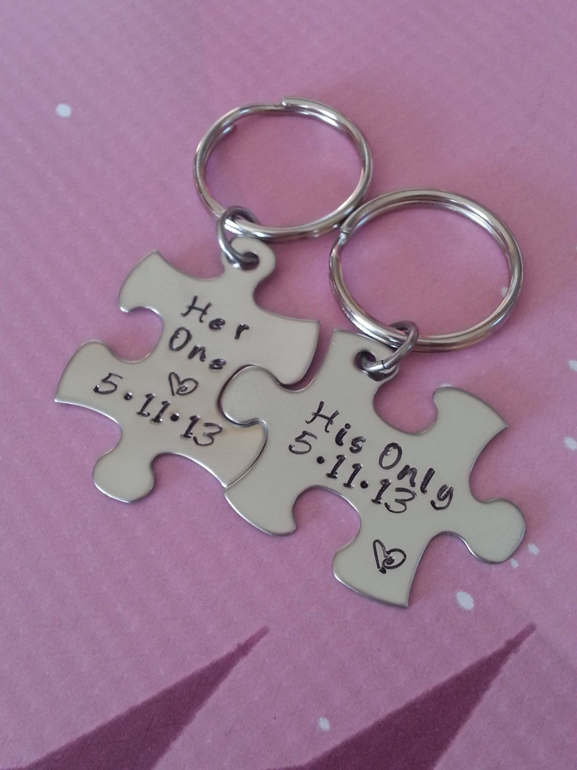 His And Her Puzzle Piece Keychain Set With Date