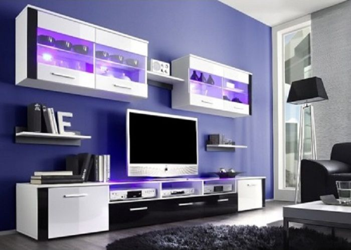 white tv stand and wall unit storage with hanging free standing glass cabinet