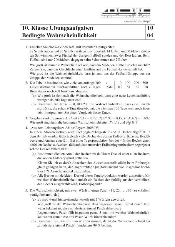 Bedingte Wahrscheinlichkeit Aufgaben Mit L U00f6sungen