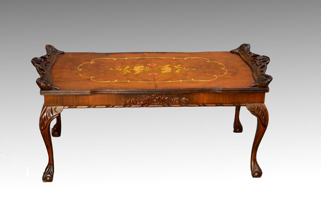 Sold Antique French Victorian Multi Color Inlaid Ball And Claw Coffee Table