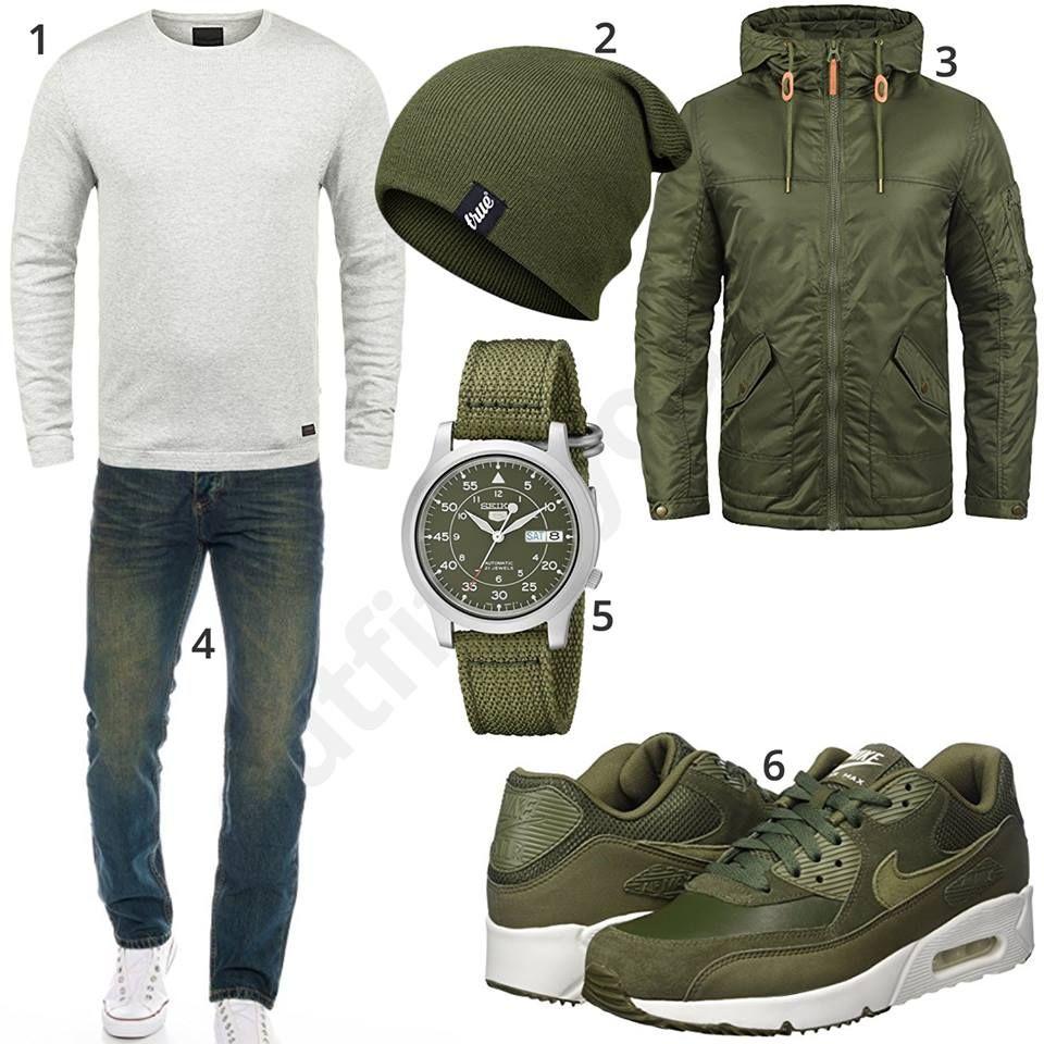 Herrenoutfit Mit Grunen Nike S Und Armbanduhr Moda Casual Hombre Convinaciones De Ropa Hombre Ropa Casual De Hombre