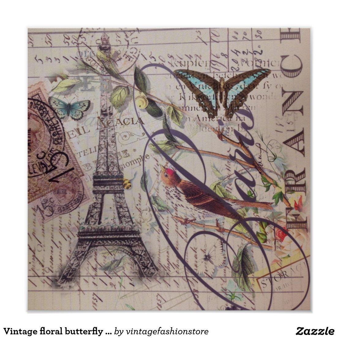 Poster Tour Eiffel Fran Ais De Paris De Papillon De Pays De