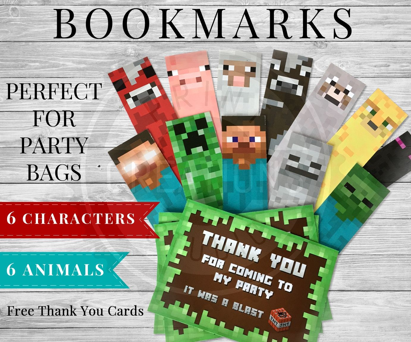 These printable Minecraft bookmarks are simply adorable and perfect for party bags! Minecraft thank you cards included to add with your Minecraft Bookmarks.