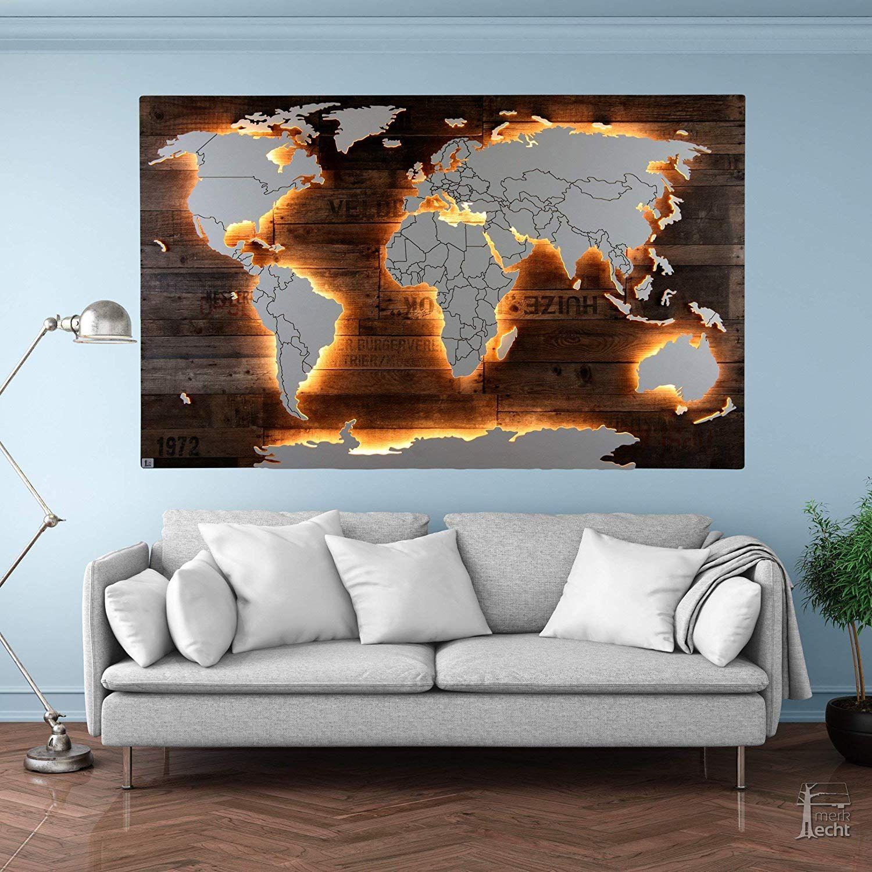 Beleuchtete Holz Weltkarte Amundsen 128x78cm Handgefertigte Einzigartige Weltkarte Mit Beleuchtung Und 3d Effekt Im Vintag Weltkarte Dekor Weltkarte Wand