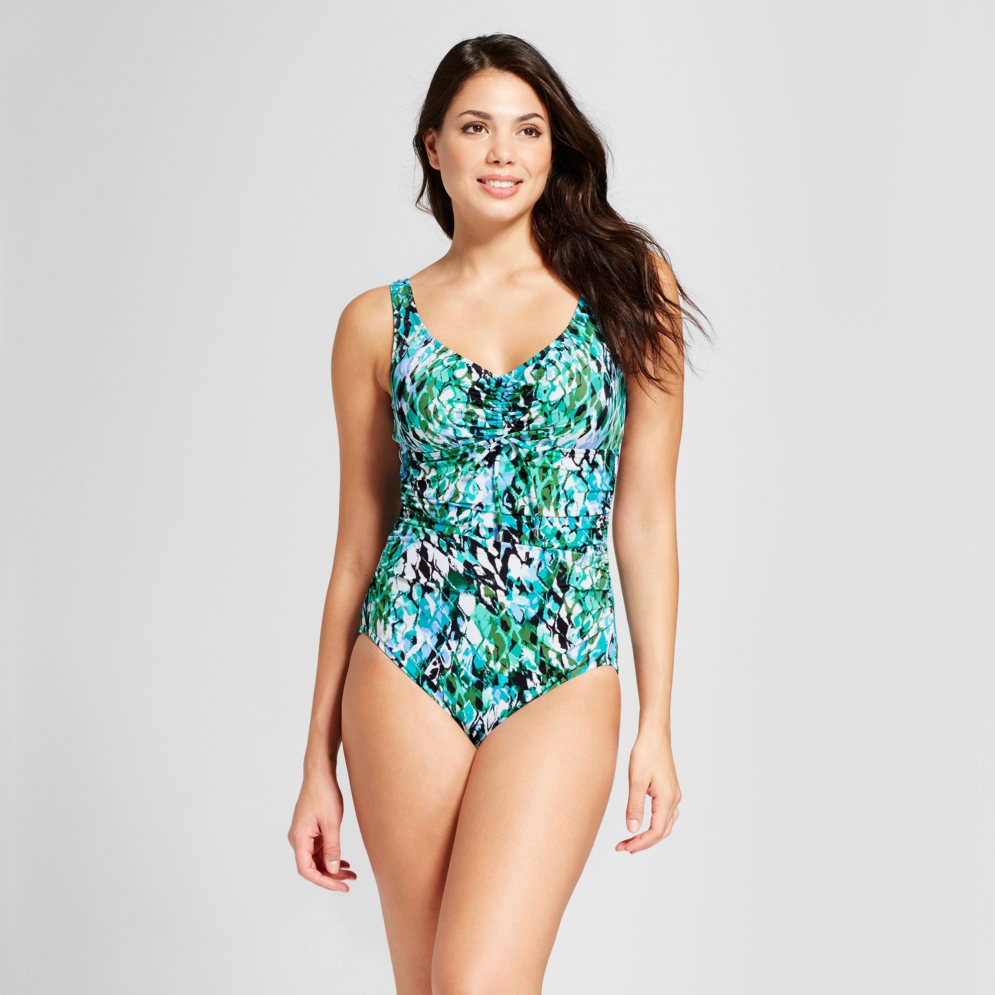 35e3656507 Women's Tie Front One Piece - Aqua Green Blue Multi M | Products ...