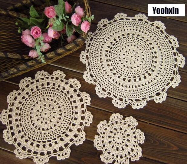 FLEUR FAIT MAIN CROCHET DENTELLE COTON table Cup Mats DOILIES napperon Coasters