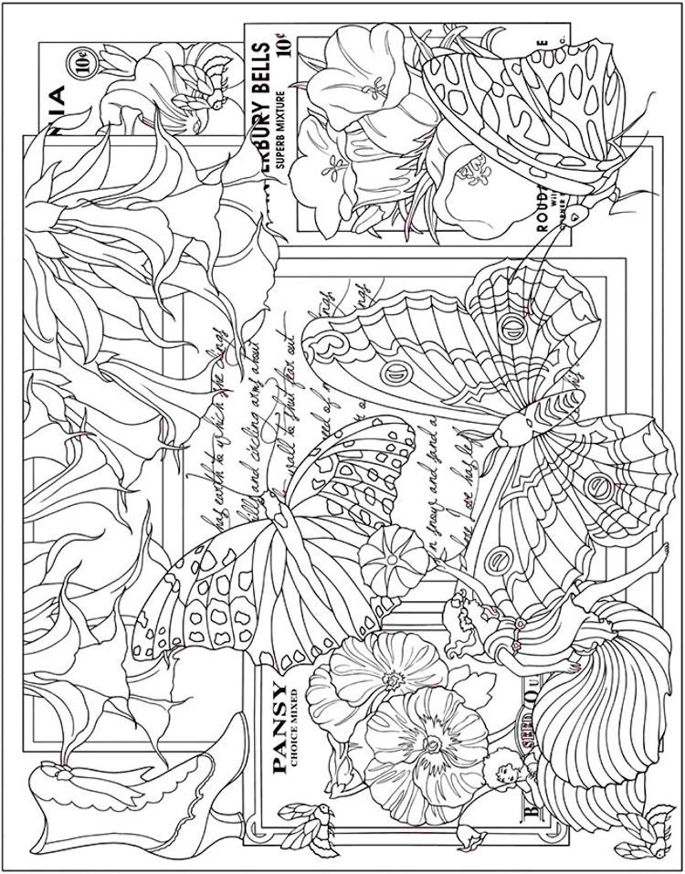 Dover ESCAPES Collage Art Coloring Page 2   Adult Coloring Pages ...