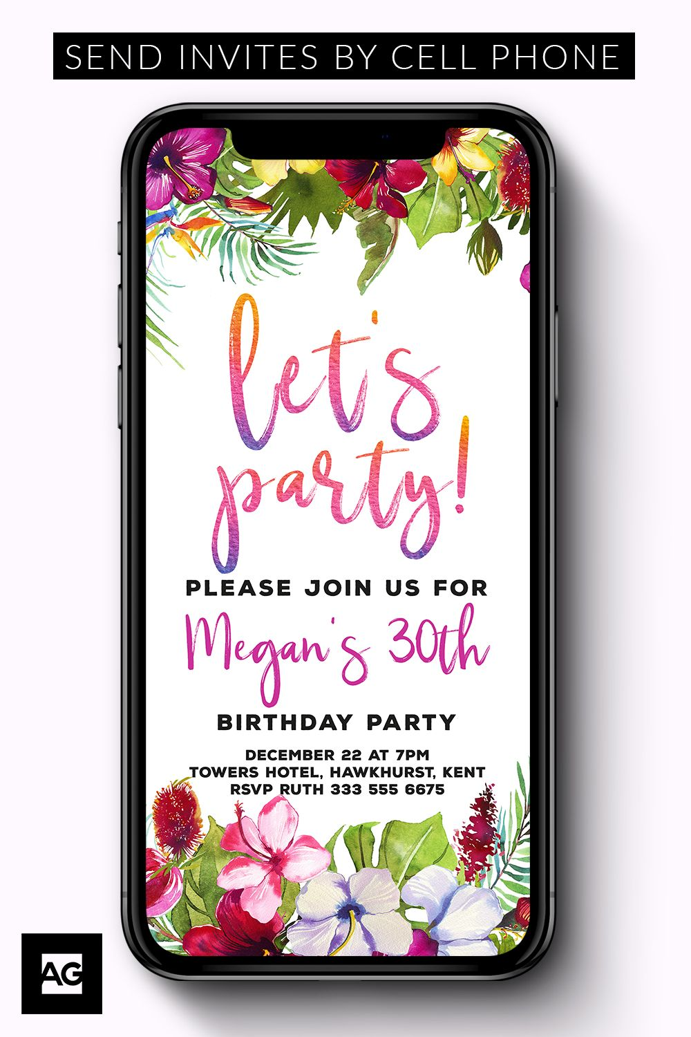 This Electronic Birthday Party Invitation Is An Instant Download And Fully Editable Simply Edit Share Invites With Your IPhone Or Smartphone