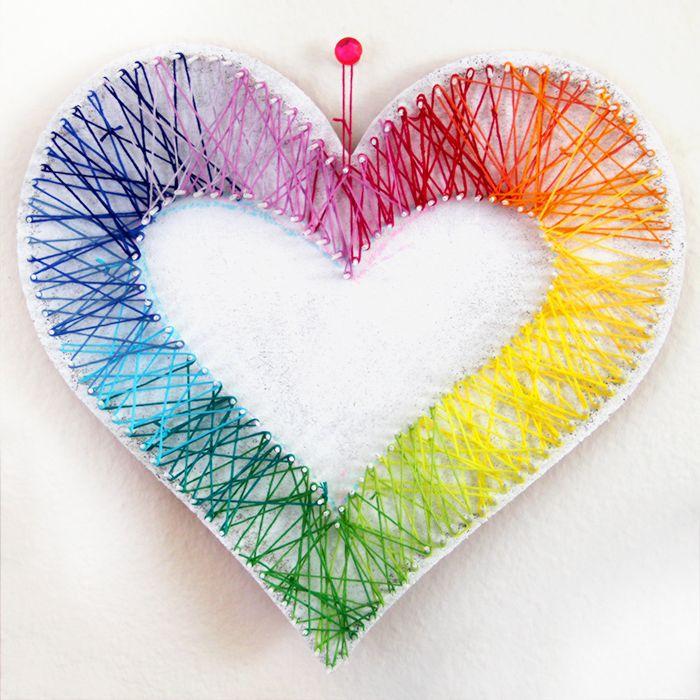 Learn how this Rainbow Heart String Art was almost a craft fail by clicking through to the blog! - 4 Easy Rainbow DIYs!   Karen Kavett