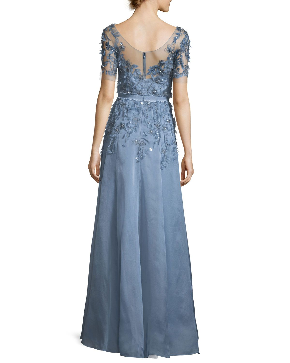 Short-Sleeve 3-D Floral Embroidered Evening Gown | Jenny packham ...