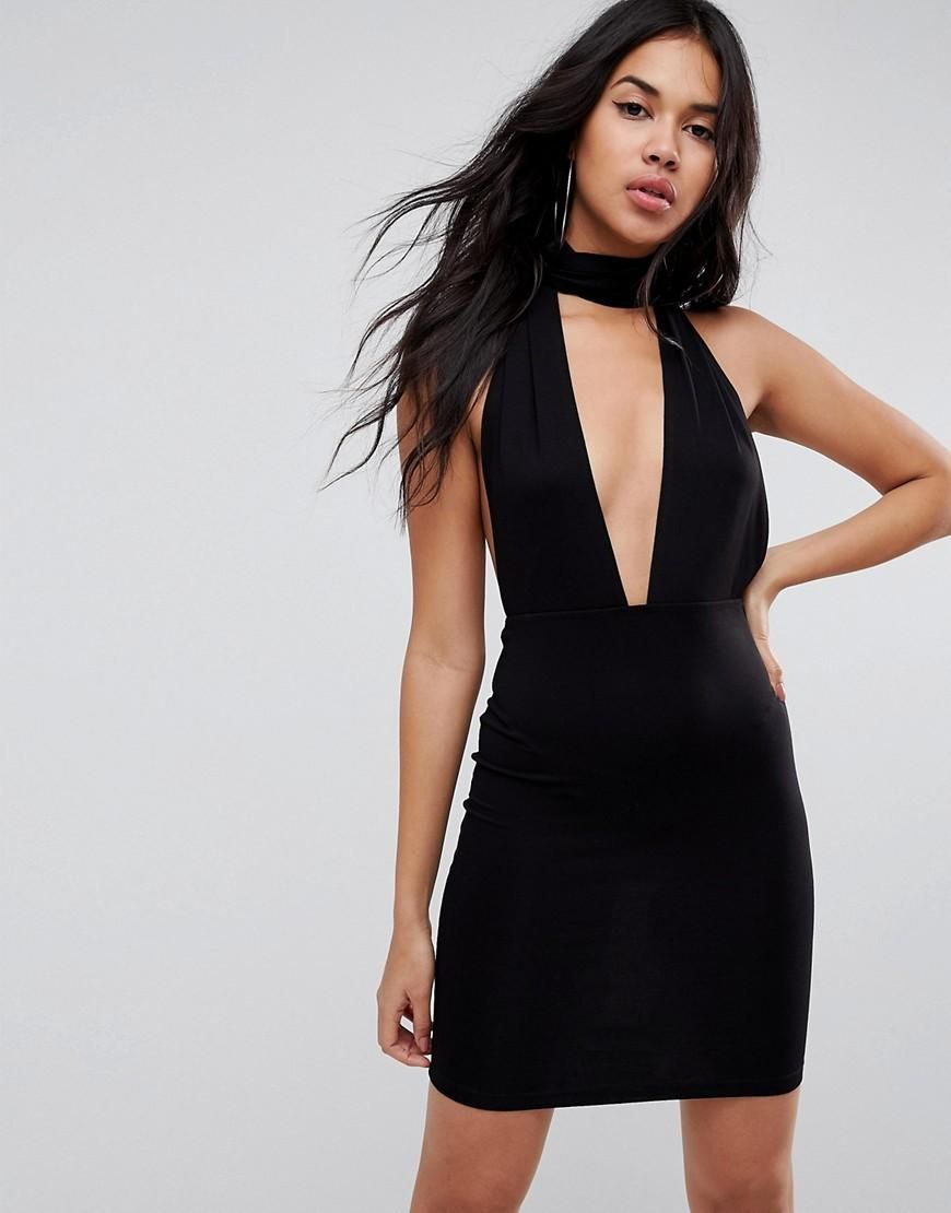 Asos asos asos halterneck plunge mini bodycon dress black