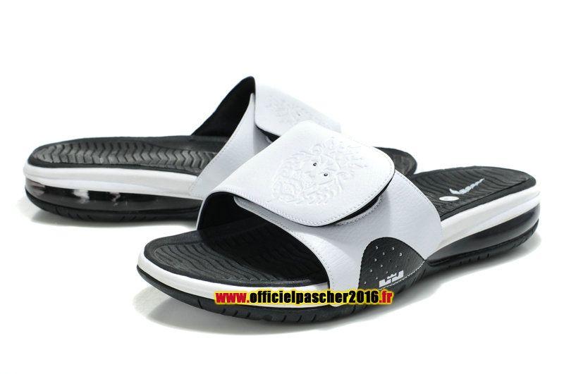 huge selection of 406fd 0c88c Officiel Nike LeBron 10X Nike Air Sandales Nike 2016 Pas Cher Pour Homme  Blanc - Noir