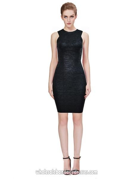 Cheap Metallic Black Herve Leger Wholesale From China Bandage