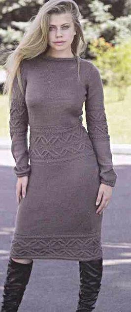 теплое платье спицами вязание платья вязание серое платье кашемир