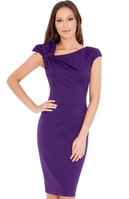 65cf12ae2a9c Jednoduché elegantné biznis šaty Gathered Shoulder Midi