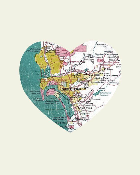 San Diego Art City Heart Map 8x10 Art Print California Heart map Block a