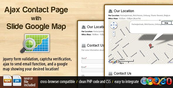 Ajax Contact Page with Google Map Contact form and Template