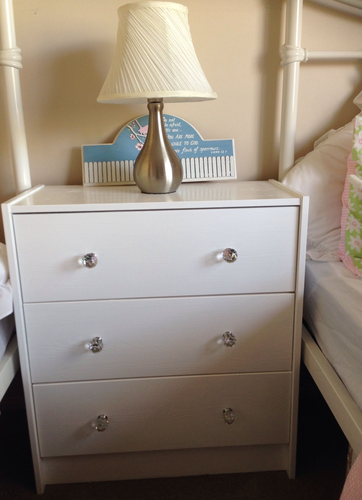 Ikea Rast Drawers Painted White With Crystal Knobs