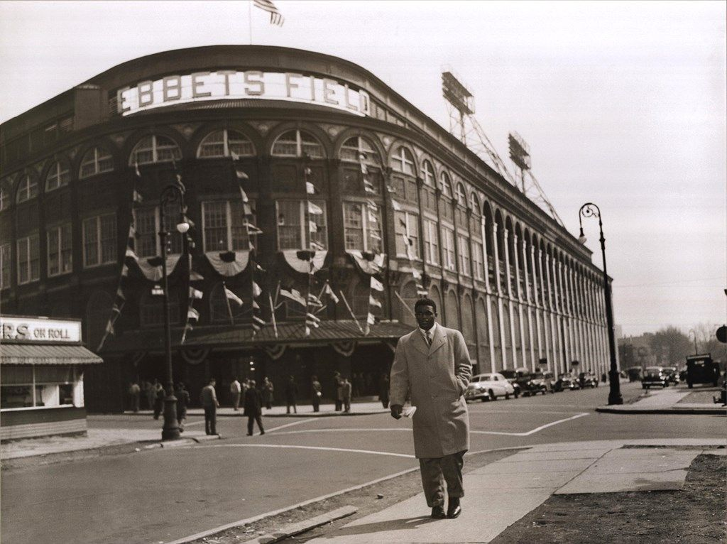 Bettmann-Corbis Jackie Robinson Leaving Ebbets Field, 1947 ...