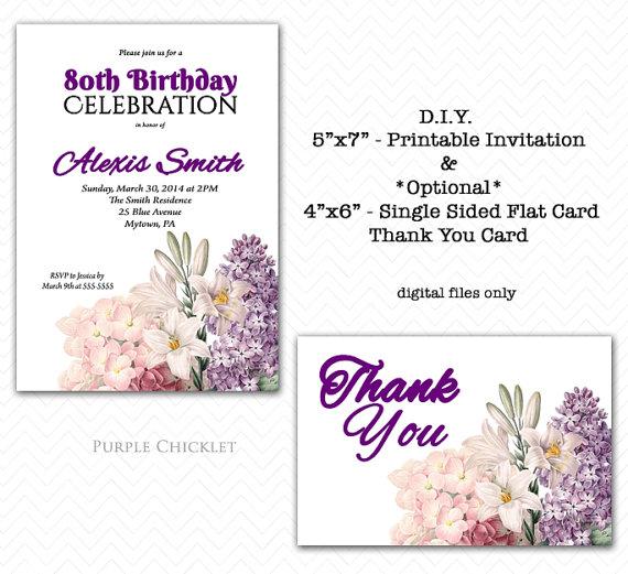 80th Birthday Party Invitation And Thank You Card SET Elegant Floral Feminine Milestone Invite DIY Printable Files 104