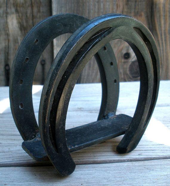 Vintage 1950s Old West Cast Iron Horseshoe Napkin Holder