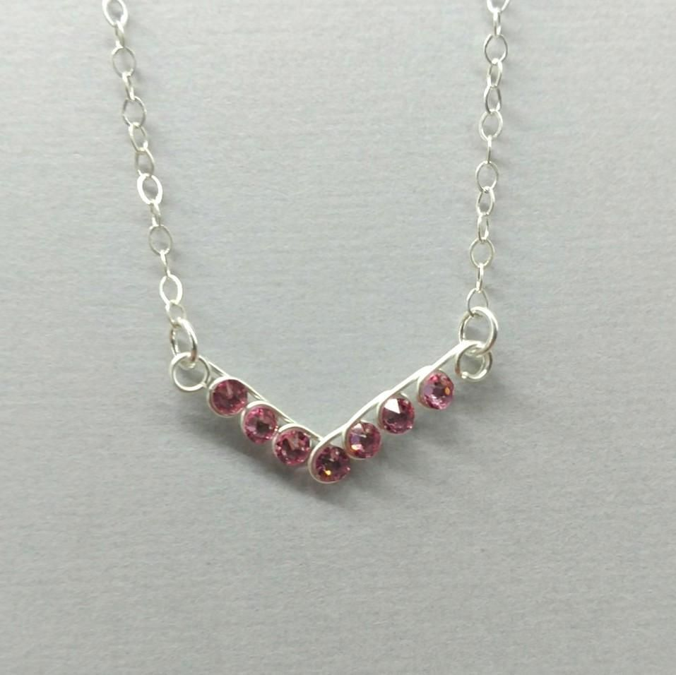 Sterling Silver Wire Coiled Pink Crystal Chevron Necklace LBD1224