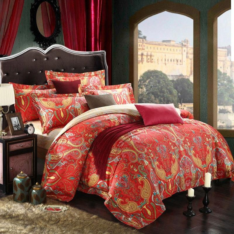 Moroccan Style Bedding Sets Chinese red and gold luxury paisley