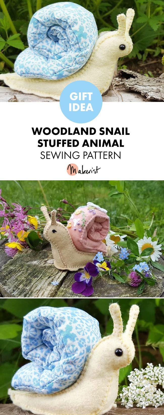 Woodland Snail Stuffed Animal Pattern #stuffedanimals