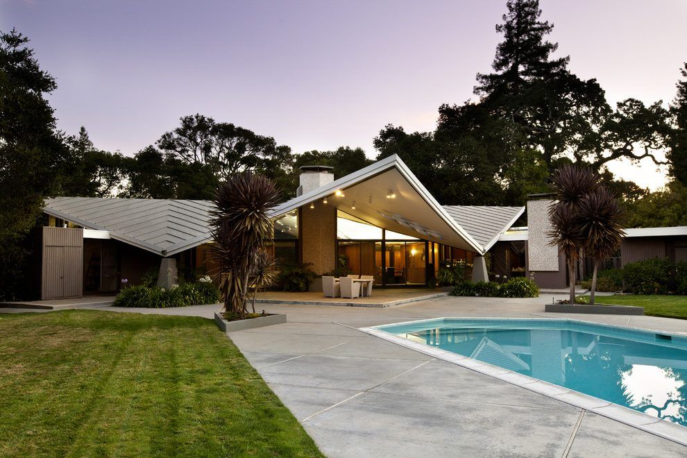 Story Flat Roof Home Decorating Ideas Exterior Midcentury With
