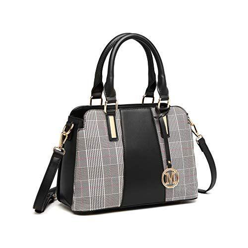 Miss Lulu Sac à main Femme Retro Stripes Crossbody Bags Sac à bandoulière en similicuir avec coutures élégantes (Gris)   – Sac à main pour femme à rayures