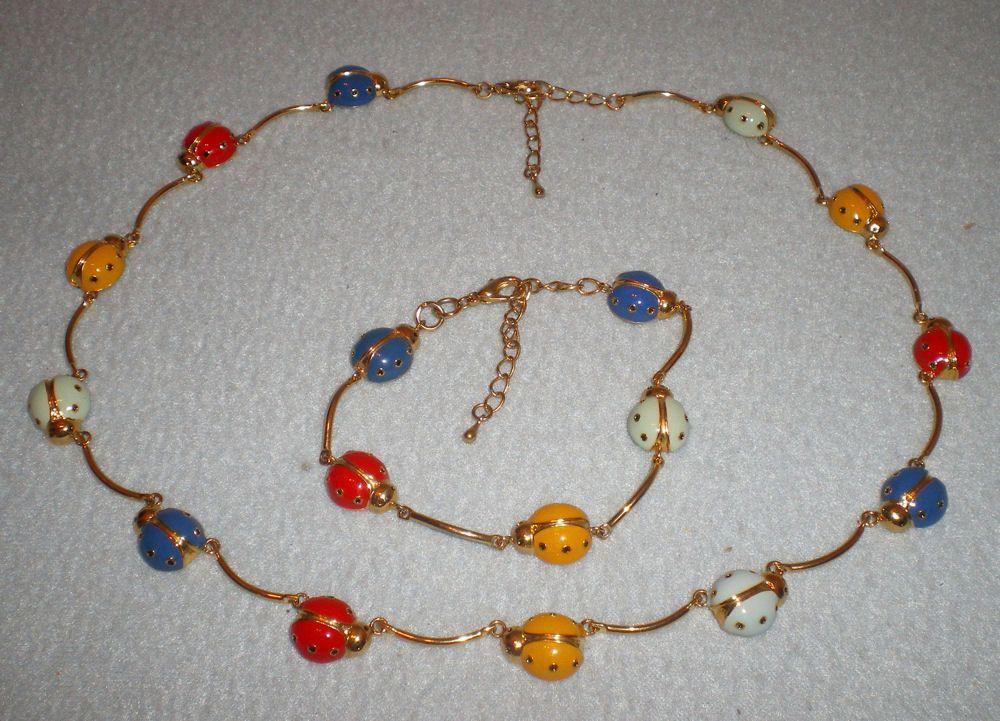 Whimsical Enamel Gold Toned Multi Colored Ladybug Necklace And Bracelet Set by Izzyoma on Etsy