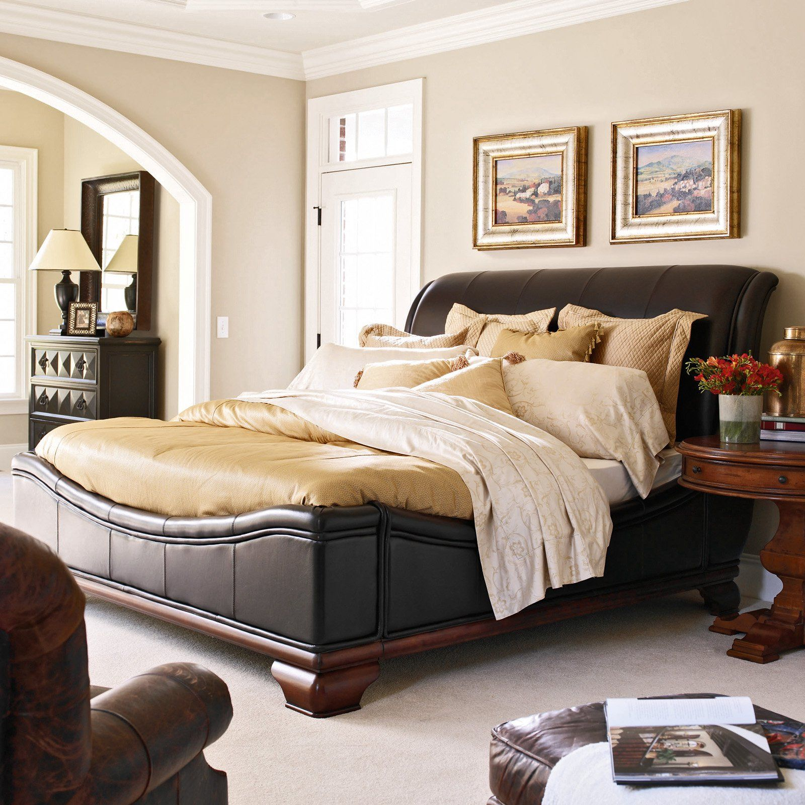 Have to have it. Santa Barbara Carriage House Leather Sleigh Bed ...