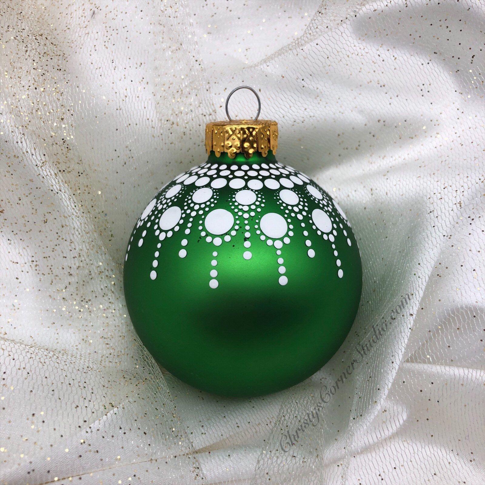 Hand Painted Green Mandala Glass Christmas Ornament Green Etsy Christmas Ornaments Glass Christmas Ornaments Painted Christmas Ornaments