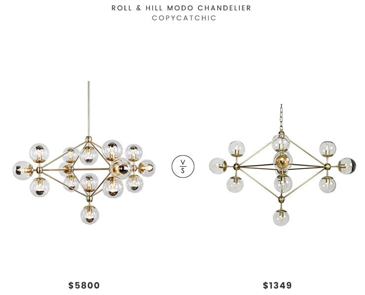 Roll & Hill Modo Chandelier$5800 vs Houzz Orion Chandelier$1349 modern bubble glove chandelier look for less copycatchic luxe living for less budget home decor and design daily finds and room redos